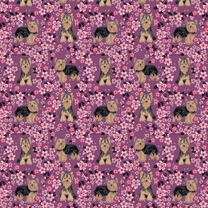 yorkie (small scale) cherry blossoms fabric pink