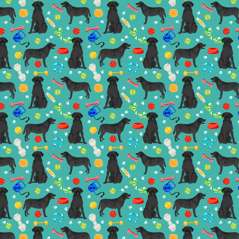 black lab (small scale) dog toys dog breed fabric blue fabric by petfriendly on Spoonflower - custom fabric