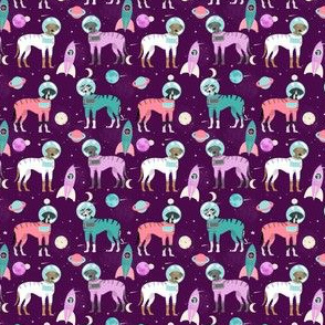 great dane (small scale) outer space astronaut dog fabric purple