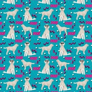 doodle rad (small scale) 80s style dog breed fabric blue