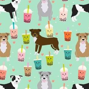 pitbull boba tea fabric - cute kawaii bubble tea pitbulls design - mint