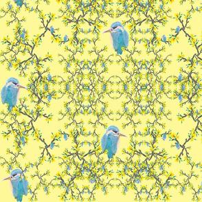 Birds  net flowers lemon