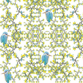 Birds net flowers white