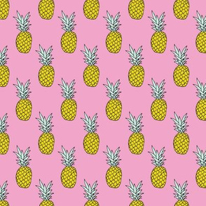 Hot summer pineapple pink tropical summer fruit trend small