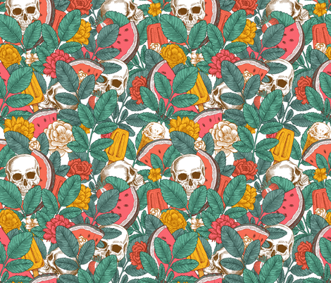 Summer skull fabric by adehoidar on Spoonflower - custom fabric