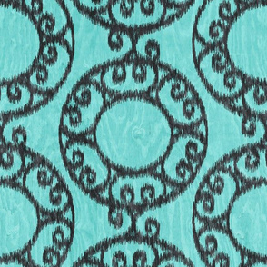 Scrolled Ringed Ikat Aruba Blue Caviar