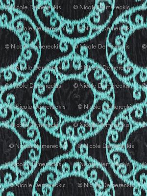 Scrolled Ringed Ikat Caviar Aruba Blue