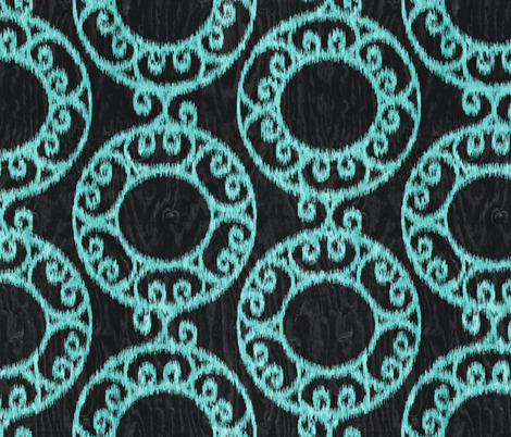 Scrolled Ringed Ikat Caviar Aruba Blue fabric by wickedrefined on Spoonflower - custom fabric
