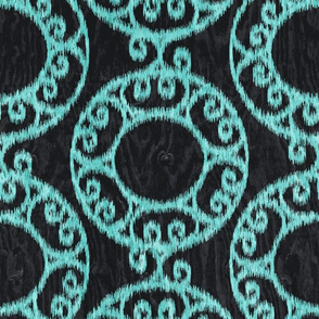 Scrolled Ringed Ikat Caviar Aruba Blue