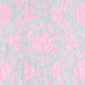 Scrolled Ringed Ikat Cherry Blossom Glacier