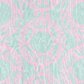 Scrolled Ringed Ikat Glacier Cherry Blossom