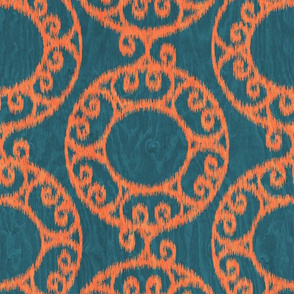 Scrolled Ringed Ikat Colonial Blue Koi