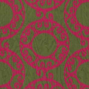 Scrolled Ringed Ikat Pesto Jazzy
