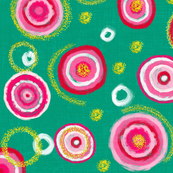 Bauhaus Pink Blooms with Gold Pollen (emerald)