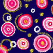 Bauhaus Pink Blooms with Gold Pollen (navy)