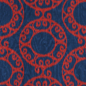 Scrolled Ringed Ikat Navy Peony Valiant Poppy