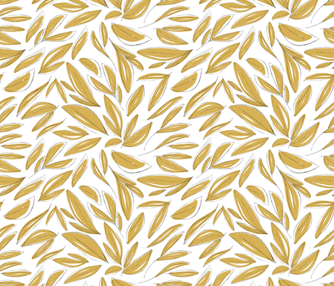 Floral Sketches Gold fabric by montgomeryfest on Spoonflower - custom fabric