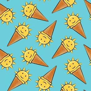 sunshine icecream cones on blue (toss)
