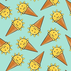 sunshine icecream cones on mint (toss)