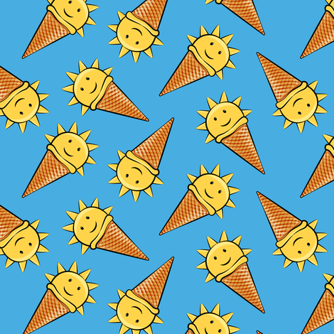 sunshine icecream cones on dark blue (toss) fabric by littlearrowdesign on Spoonflower - custom fabric
