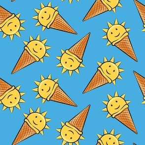sunshine icecream cones on dark blue (toss)