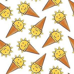sunshine icecream cones on white (toss)