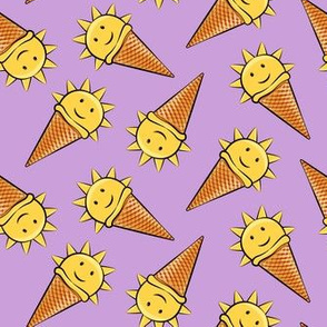 sunshine icecream cones on purple (toss)