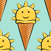 sunshine icecream cones on mint