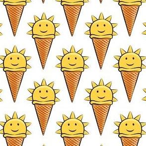 sunshine icecream cones on white