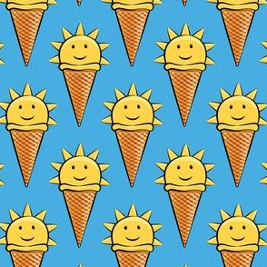 sunshine icecream cones on blue