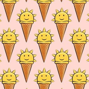 sunshine icecream cones on pink