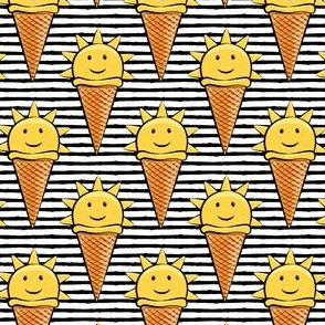sunshine icecream cones on black stripes