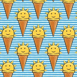 sunshine icecream cones on blue stripes
