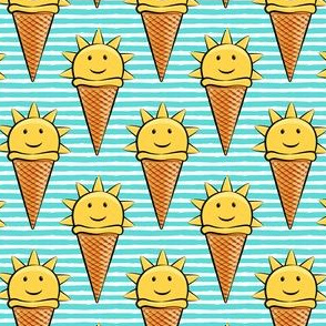 sunshine icecream cones on teal stripes