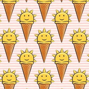 sunshine icecream cones on pink stripes