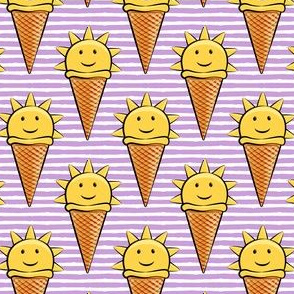 sunshine icecream cones on purple stripes