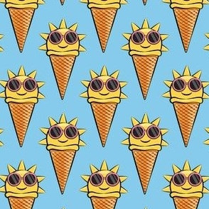 sunshine icecream cones (with glasses) blue
