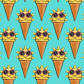 sunshine icecream cones (with glasses) teal