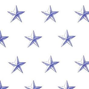 stars print blue engraved on white