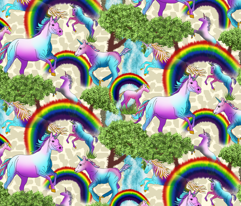 RAINBOWS_ WATERFALLS AND UNICORNS fabric by house_of_heasman on Spoonflower - custom fabric