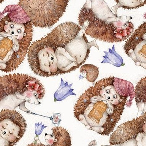cute hedgehogs Izmaylova fabric woodland friends nursery knitting