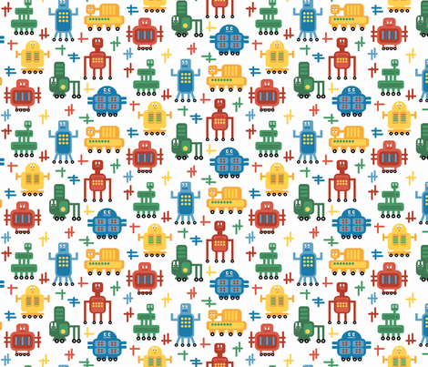Rolling Robots - Brights fabric by inklaura on Spoonflower - custom fabric