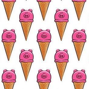 pig icecream cones on white