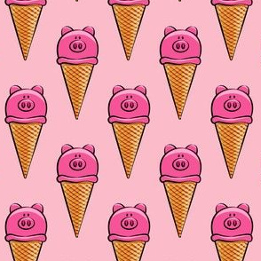 pig icecream cones on pink