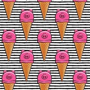 pig icecream cones - black stripes