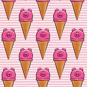 cute pig icecream cones on pink stripes