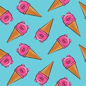 pig icecream cones toss on blue