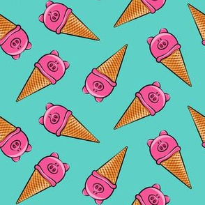 pig icecream cones toss on teal