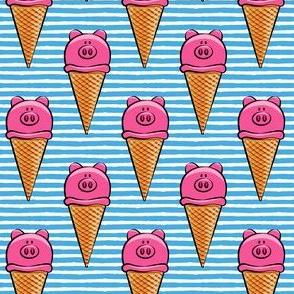 pig icecream cones on blue stripes