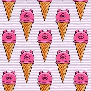 pig icecream cones on purple stripes